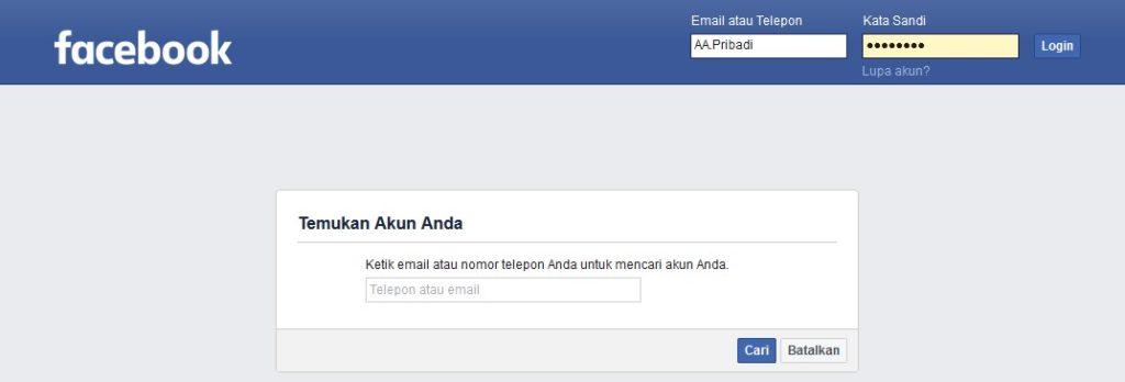 cara mengubah sandi facebook nomer